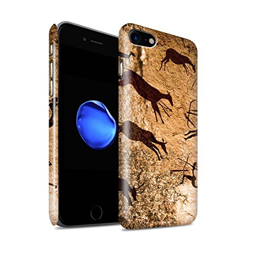 STUFF4 Glanz Snap-On Hülle / Case für Apple iPhone 8 / Jäger/Braun Muster / Höhlenmalerei Kollektion Jäger/Braun