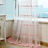 GUOCAIRONG® Tulle Vorhänge gestickte Tüll Vorhänge für Wohnzimmer Moderne rosa schiere Vorhänge für Schlafzimmer Leinen Fenster Vorhänge Stoff 1 Stück , 4*2.7m