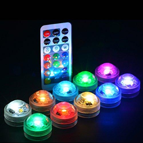 Luces LED multicolores Hookah 13 colores Cambio de 3 cm Mini batería Impermeable LED vela candelita con mando a distancia para eventos de bodas Inicio Jarrón Centerpeice Decor (RGBW 10 Light + 2 Remote)