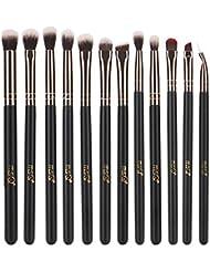 MSQ 12pcs Eye Makeup Brushes Rose Gold Eye Makeup Brushes Set with Soft Natural Hairs & Real Wood Handle for Eyeshadow, Eyebrow, Eyeliner, Blending - Rose Gold