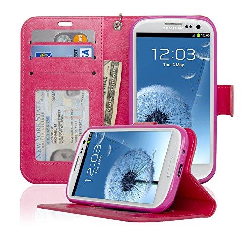 navor Samsung Galaxy S3Deluxe Buch-Stil Folio Brieftasche Ledertasche mit Geld Pocket & Abnehmbarer Tragegurt Deluxe Gadget Bag