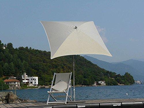PEGANE Parasol centré carré en Acier avec Toile en Polyester Brillant Effet Metallique - 160X160 - H 250 cm