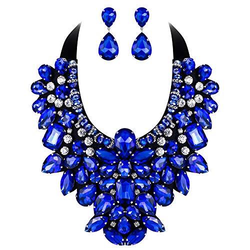 Flyonce Damen Kristall Retro Kostüm Aussage Halskette Ohrringe Set für Bankett, Prom Blau ()