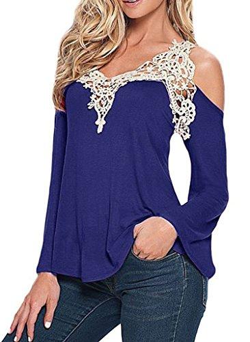 Smile-YKK-mujeres-V-cuello-Patchwork-para-el-hombro-Off-encaje-camiseta-blusa