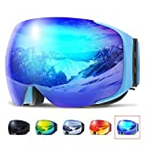 Ski Goggles, COPOZZ G2 Skiing Goggles For Snowboard Jet Snow - For Women Men Ladies Youth Teen - Magnetic Interchangeable Lens - OTG Over Glasses Anti Fog Helmet Compatible Sunglasses - Blue