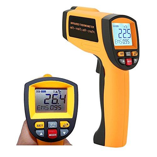 Digital Laser Infrarot Thermometer IR Pyrometer berührungslos Temperaturmessgerät Temperaturmesser -58℉~2102℉ (-50°C-1150°C), LCD Beleuchtung mit Dual Laser visuelles Target, High / Low Temp Alarm -