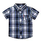 Julhold Kleinkind Baby Kinder Jungen Einfach Streifen Plaid Tasche Lässig Baumwolle T-Shirt Tops...