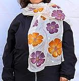 Batik-Mode, Seidenmalerei Ideen, Geschenk für sie, handgemalte orange lila Blumen, Schal Geschenk für Frau, Floral Design Schal, Gartenblumen, Geschenk Frau, Gärtner Geschenk.
