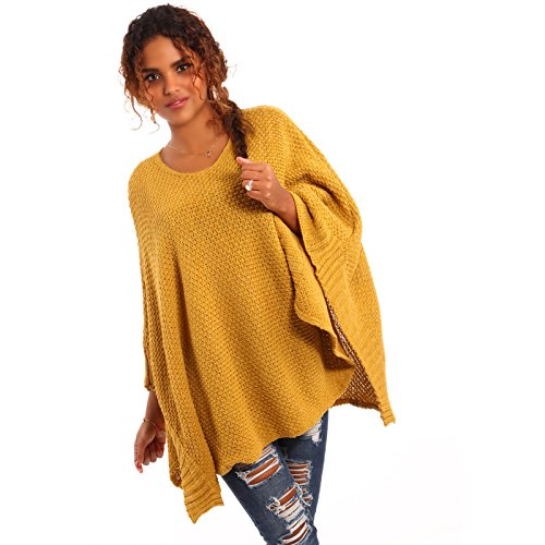 Made Italy - Poncho - Cape - Uni - Sans Manche - Femme Jaune - Senf