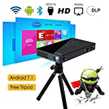 Beamer DLP mit Android 7.0, Dual WiFi Bluetooth 4.0, Smart Video Projektor Portable ExquizOn P8I 1080P FHD 120 Zoll, Quad Core HDMI/TF/USB Wiederaufladbar Auto Keystone für Smartphone iPhone iPad Handy Tablet PC Laptop Fußballspiele Heimkino (Schwarz)