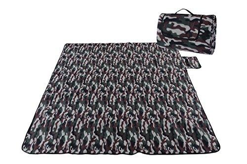 Honeystore Flanell Wasserdichte Yoga Matte Strand Ausflug Picknickdecke Mit Tragegriff 200*200 CM Camouflage
