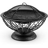 Blumfeldt Ronda Braciere Decorativo Griglia Per Giardino Funzione Barbecue (Dotato di Braciere, Griglia Per Cenere, Parascintille, Attizzatoio, 75 Cm) Nero
