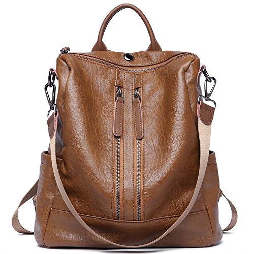 Damen Rucksack Handtaschen Mode PU Leder Schultertasche Daypack Umhängetasche Reiserucksack Anti Diebstahl Tasche für Schule Reise Arbeit Braun