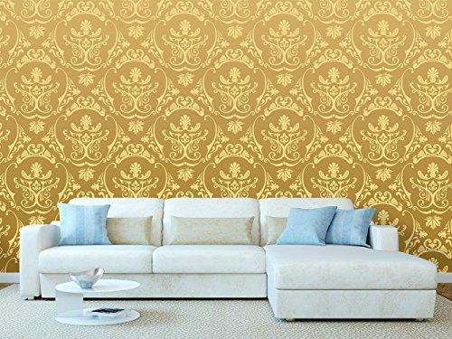 Wand-platten Viktorianischen (Tapeten-Damast-Wand-Damast-Vintage Gold im viktorianischen Stil | Wandbild | Hintergrundbild | Verschiedene Maße 600 x 300 cm | Dekor Esszimmer, Wohnzimmer, Zimmer …)