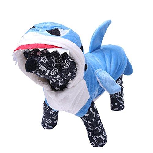 Imagen de freebily disfraz de tiburón para mascota ropa traje de perro cachoro perrito gato sudadera azul xs