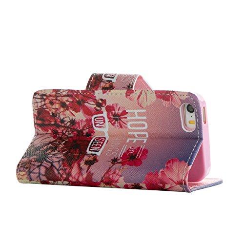 MOONCASE Étui pour Apple iPhone 5 / 5S Printing Series Coque en Cuir Portefeuille Housse de Protection à rabat Case Cover LD20 LD01 #0226