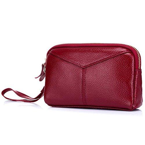 MeiliYH Portafoglio in Pelle Pochette Delle Signore con la Borsa del Sacchetto del Telefono del Raccoglitore con Cerniera per Donna (Viola Viola) Rosso