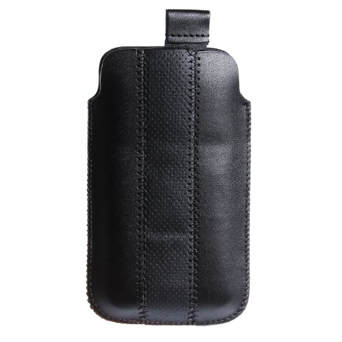 wortek Apple iPhone 4 / 4S Tasche Etui (Lasche mit Rückzugfunktion Ausziehhilfe) Rot Weiß iPhone 4 / 4S - Schwarz