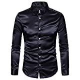 Hemden Herren LUCKYCAT 2018 Neu Fashion Trend Langarm Einfarbig Glänzende Hemden Slim Fit Hemden Modern (Schwarz, M)