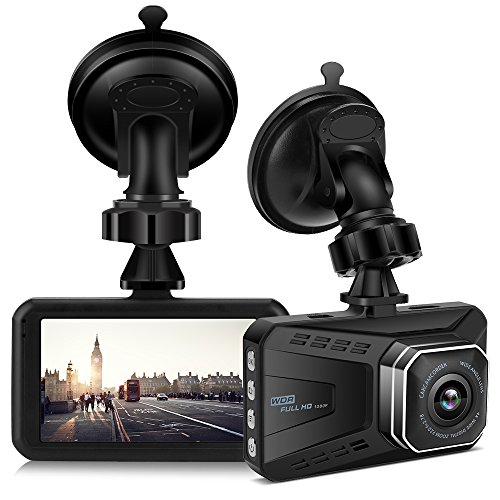 Car Camera Video Recorder,Uniway Dashcam VR15 1080P 3'' Night Vision Car DVR With 170° Wide Angle,Infrared Sensor,G-Sensor,WDR,Parking Monitoring,Loop Recording And Motion Detection