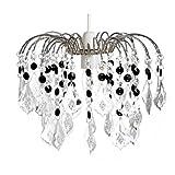 Lighting Web Co Kronleuchter/Deckenlampe, 3-stufig, mit Kristallen behangen, Acryl, verchromt, transparent/Schwarz