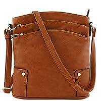 حقيبة كروسبودي كبيرة بثلاثة سحاب (بني مصفر)