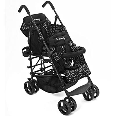 Kinderwagon BLACK Hop Double Child Stroller w/ Canopy by Kinderwagon