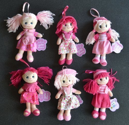 Soft Toy Hangable Hanging Rag Doll in Light or Dark Pink With a Selection of Outfits By Girlie Paws