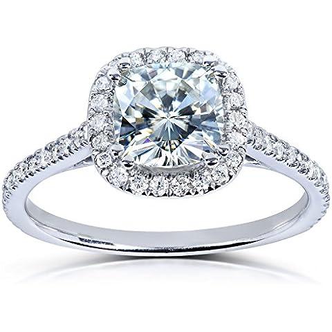Forever One, taglio cuscino Moissanite &-Anello di fidanzamento con diamante 1/3 CTW in platino - Fedi In Platino Mens