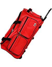 Travel Duffel Bag Colour and Size Choice 100Liter Red Wheeled Luggage Castors Gym Sport Camping Large Lightweight Telescopic Handle