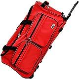 DEUBA XL Reisetasche | mit Trolleyfunktion | Rollen mit Kugellager | Teleskopgriff | abschließbar 85 Liter in Rot Sporttasche Reisetrolley Gepäcktasche