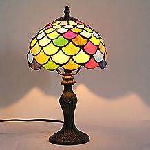 8 Pulgadas Retro Antiguo Estilo Creativo De Colores De Vidrio De Pescado Cola Patrón De Lámpara De Mesa Lámpara De Cabecera Lámpara De Escritorio