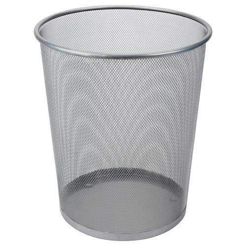 DRULINE 1 x Papierkorb Metall Mülleimer Büro (Silber) Ø 29,5 cm X 35 cm 19 Liter (Silber Mülleimer)