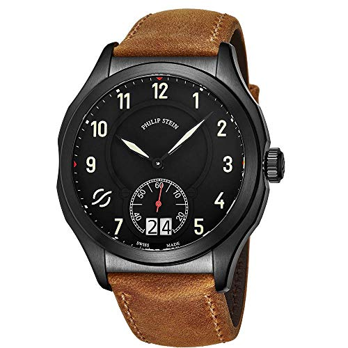 Philip Stein Men's Prestige 47mm Leather Band Swiss Quartz Watch 17BSBKLCASTM