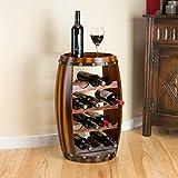 Hölzernes Faß Weinregal Holz-Flaschenhalter Table Top 12 Flaschen Christow H64.5cm