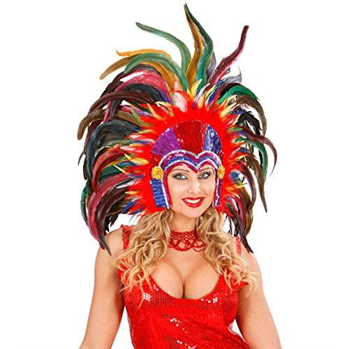 Karneval Brasilianischen Tänzerin Kostüm - Brasilianischer Feder Kopfschmuck Rio Karneval Federkopfschmuck Samba Tänzerin Federkopfschmuck Drag Queen Travestie Federschmuck Showtanz Kopf Schmuck Haarschmuck Feder Kopfbedeckung Burlesque Mottoparty Accessoires Fasching Kostüm Zubehör