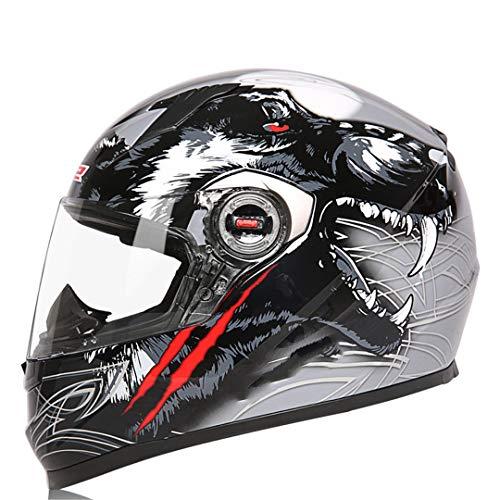 O-Mirechros Clown Casco Integrale del Motociclo Motocross Uomo Donna Casco Moto Samurai ECE Approvato Grey Wolf XXL