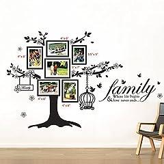 Idea Regalo - Walplus - Set di adesivi da parete: cornici portafoto con albero e gabbia per uccellini (mod. WS9021), scritta in lingua inglese (mod. WS3023)