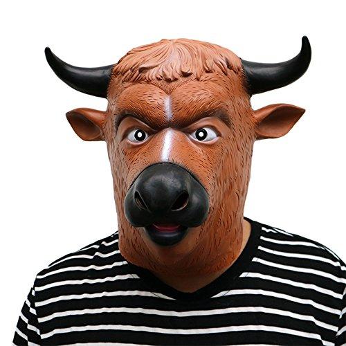 Morbuy Interessant Halloween Maske, Neuheit Erwachsene Latex Tier Masken Perfekt für Fasching Karneval Kostüm Weihnachten Halloween Cosplay Kostüme Für Männer und Frauen (Rinder schwarzes Horn) (Bane Halloween Kostüm Für Kinder)