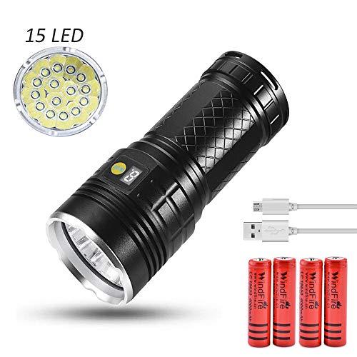 Torcia LED potente Torcia tattica USB ricaricabile con 15x T6 LED super luminoso, LUXNOVAQ 14000 Lumen Torcia portatile impermeabile con 4 modalità e Display di potenza e 4pcs Batterie