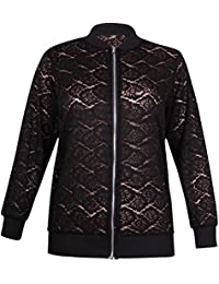 Womens Plus Size Long Sleeve Ladies Stretch Collared Lace Zip Long Jacket Top