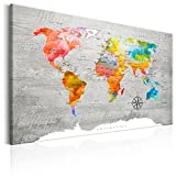 murando - Bilder 90x60 cm Vlies Leinwandbild 1 TLG Kunstdruck modern Wandbilder XXL Wanddekoration Design Wand Bild - Poster Weltkarte Welt Landkarte Kontinente k-C-0049-b-b