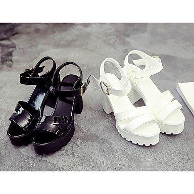 LvYuan Da donna Sandali Comoda PU (Poliuretano) Estate Comoda Quadrato Bianco Nero 12 cm e oltre Black