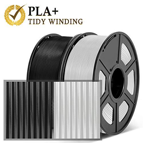 Filamento PLA Plus 1.75 mm, filamento impresora 3D Tidy Winding, Precisión dimensional en PLA Plus (PLA +) negro y PLA transparente +/- 0.02 mm, PLA Plus 2KG (4.4lbs)