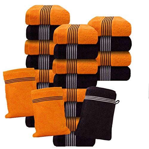 Und Graue Weiße Badetücher (Liness-Stripes 24 tlg Waschlappen-Set orange braun brombeere 24 Waschhandschuhe Baumwolle orange teracotta braun brombeere)