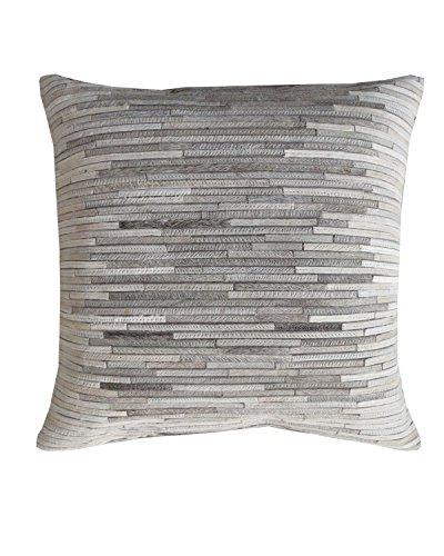 WOVEN - Designer Kissenhülle Handgemacht Bahia - Leder Streifen-Mosaik in Grau, Creme & Weiß - 45 X 45 Centimeter - Für schöne Akzente in Schlafzimmer und Wohnzimmer oder als Geschenk