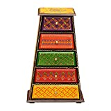 Orientalische Mini-Kommode mit 5 Schubladen von handbemalte Apotherschränkchen Schatulle bunte Kästchen Schminkkasten Box | Schmuckkasten Nita