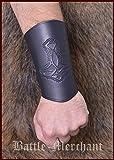 Guardabrazos de cuero, con Martillo de thor, largos - Pulsera Puños de brazo Vikingo LARP Edad media - Marrón