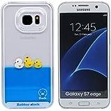 Mignonne Jaune Rubber Canard Design Coque Samsung Galaxy S7 Edge Transparent Rigide Dur Housse Etui de Protection Pur Bleu Eau Liquide Style Case Anti choc