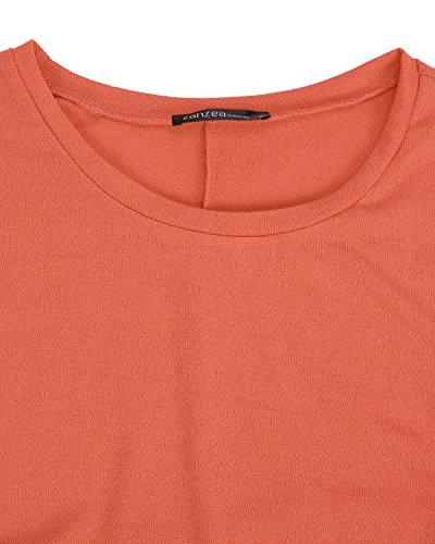 ZANZEA Damen Lose Asymmetrisch Jumper Sweatshirt Pullover Bluse Oberteile Oversize Tops Orange